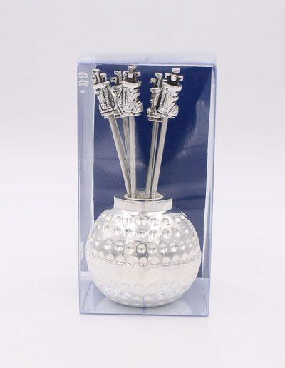 498P33A Bola Golf con 6 pinchos saco golf (Plata - Caja plástico - Cartón azul)