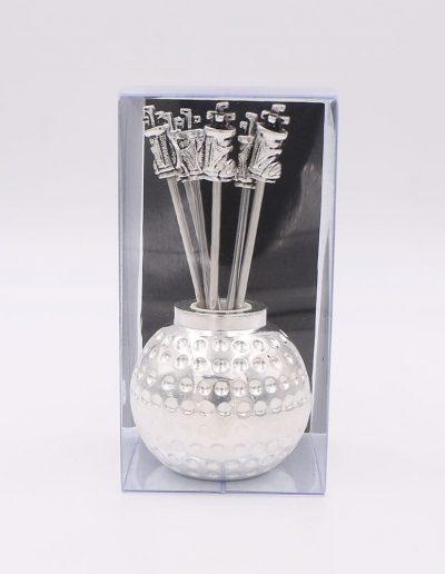 498P33N Bola Golf con 6 pinchos saco golf (Plata - Caja plástico - Cartón negro)
