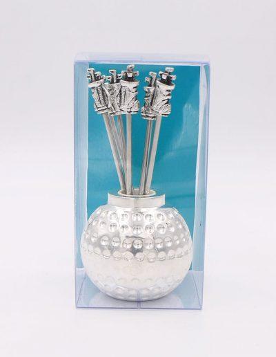 498P33V Bola Golf con 6 pinchos saco golf (Plata - Caja plástico - Cartón verde)
