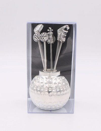 498PN Bola Golf con 6 pinchos surtido golf (Plata - Caja plástico - Cartón negro)