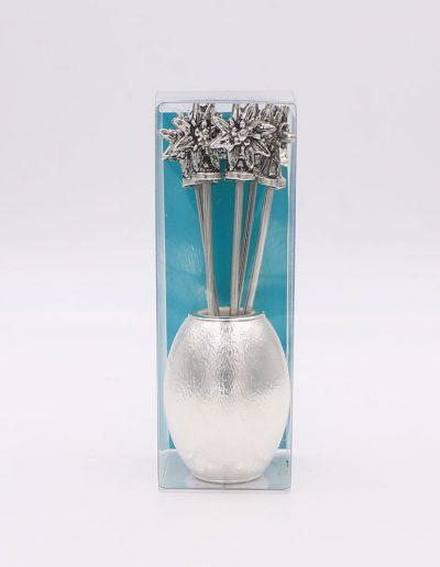 551P324V Oval con 6 pinchos flor Edelweiss (Plata - Caja plástico - Cartón verde)