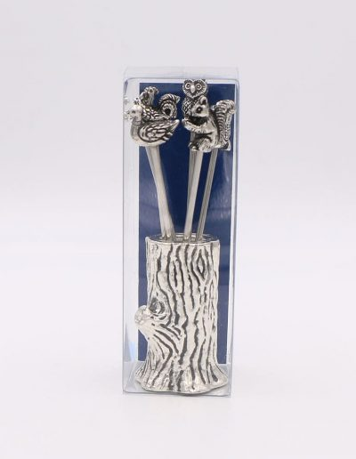 871PA Árbol con 6 pinchos surtido animales (Plata - Caja plástico - Cartón azul)