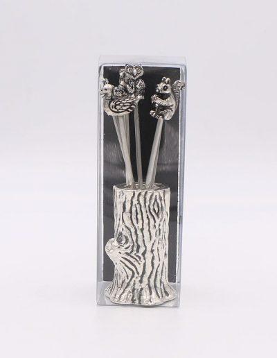871PN Árbol con 6 pinchos surtido animales (Plata - Caja plástico - Cartón negro)