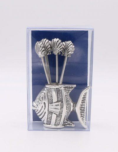 876P51A Pez con 6 pinchos conchas (Plata - Caja plástico - Cartón azul)