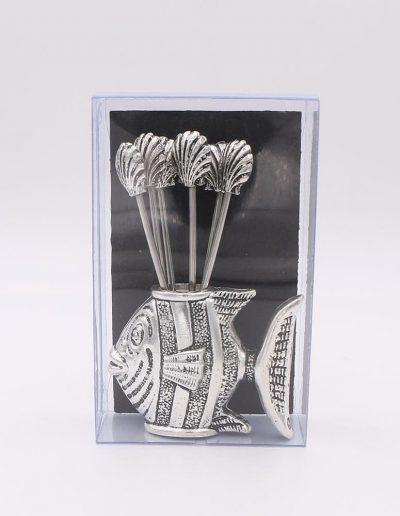 876P51N Pez con 6 pinchos conchas (Plata - Caja plástico - Cartón negro)