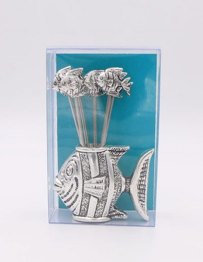 876P58V Juego cocktail pez (Plata - Caja plástico - Cartón verde)