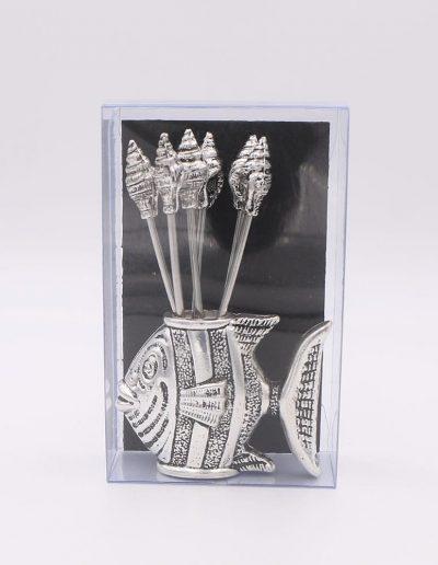 876P61N Pez con 6 pinchos caracolas (Plata - Caja plástico - Cartón negro)