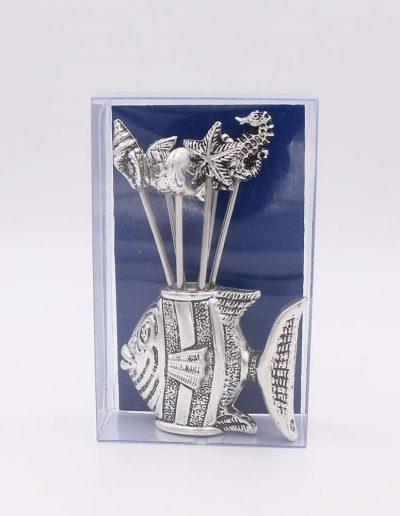 876PA Pez con 6 pinchos surtido marino (Plata - Caja plástico - Cartón azul)