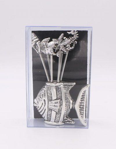 876PN Pez con 6 pinchos surtido marino (Plata - Caja plástico - Cartón negro)