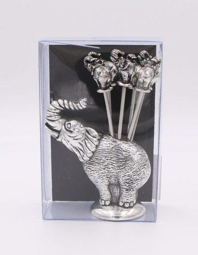 900PN Juego cocktail elefante (Plata - Caja plástico - Cartón negro)