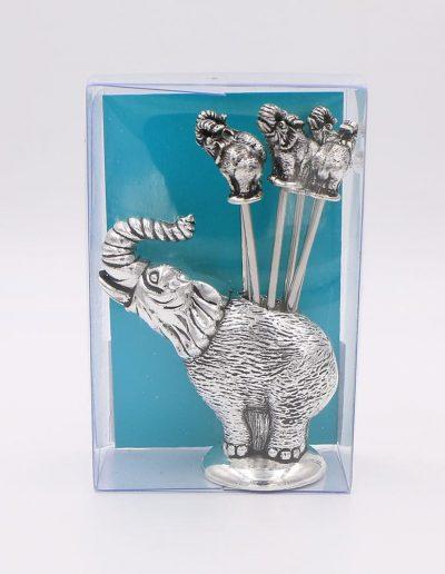 900PV Juego cocktail elefante (Plata - Caja plástico - Cartón verde)