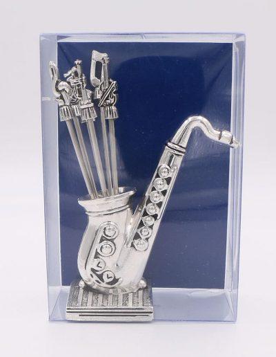 936PA Saxofón con 6 pinchos surtido musical (Plata - Caja plástico - Cartón azul)