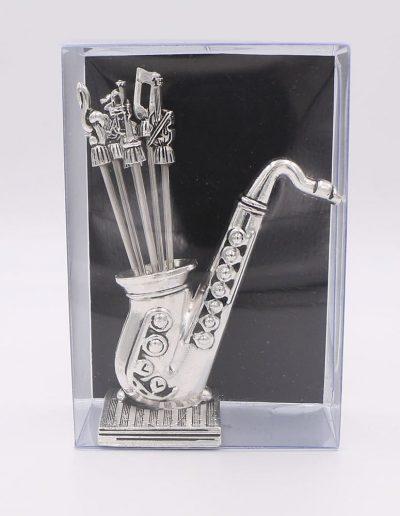 936PN Saxofón con 6 pinchos surtido musical (Plata - Caja plástico - Cartón negro)