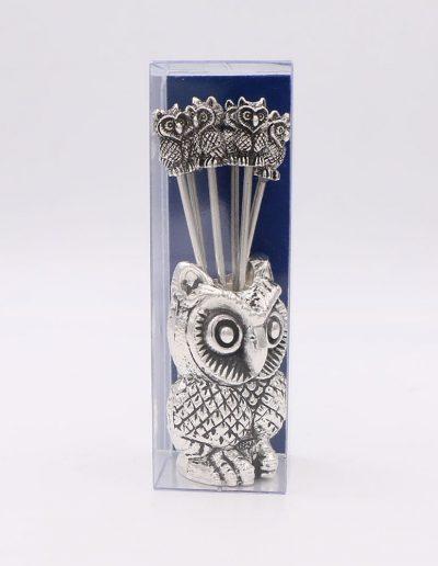 944PA Juego cocktail búho (Plata - Caja plástico - Cartón azul)
