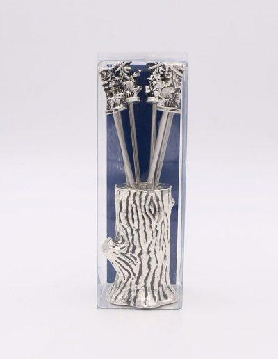 957PA Árbol con 6 pinchos bruja (Plata - Caja plástico - Cartón azul)